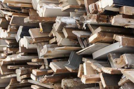 home destruction: Pile of old, dirty wood because of home improvement or renovation Stock Photo