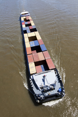 the river: Container ship on the river
