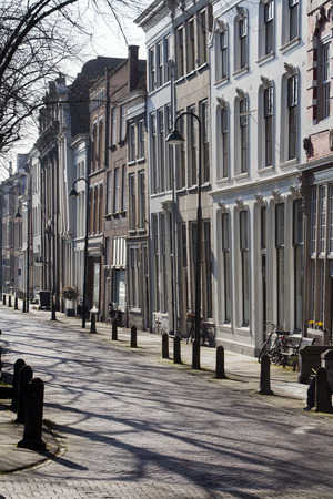 crooked: Crooked street with row houses in Gouda in the Netherlands