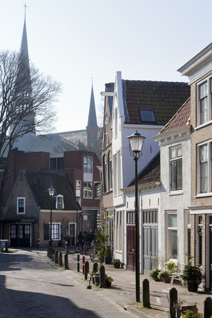front stoop: Picturesque street in Gouda, the Netherlands Stock Photo