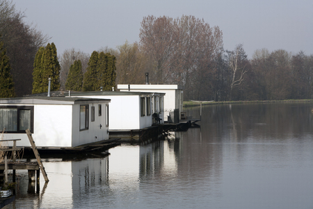 nautical structure: Street of houseboats in Moordrecht, the Netherlands