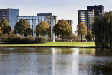 Office park with trees and water