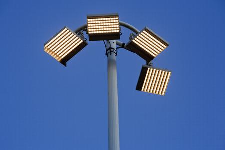 led lamp: Contemporary urban led lamp post Stock Photo
