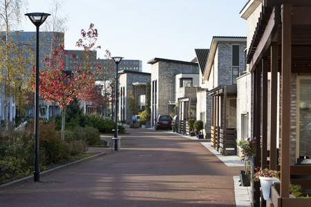 residential district: Home zone in a residential district Stock Photo
