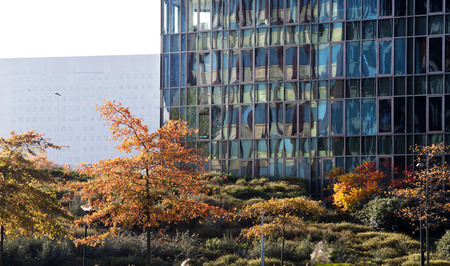 generic location: Nice combination of trees in autumn and a contemporary office building with an older concrete building in the background