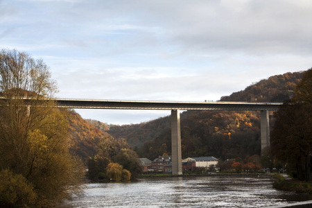meuse: Highway is crossing the river Meuse near Dinant in Belgium Stock Photo
