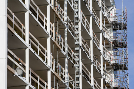 apartment block: Apartment block construction site in the Netherlands Stock Photo