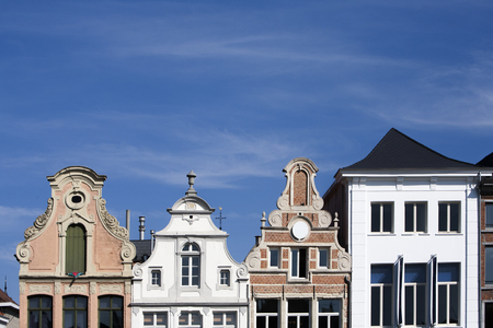 18th: Facade of 18th century buildings in Mechelen in Belgium.