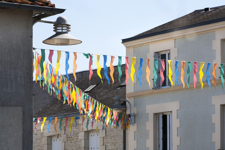 ornamentations: Happy street in France on 14th July in France Stock Photo