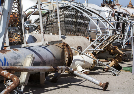 storage tanks: Industrial recycling of metal pipelines, tubes, valves, storage tanks and other construction material scrap.