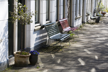 sociable: The residents have Placed benches in front of Their houses in the residential district Kralingen in Rotterdam, the Netherlands.