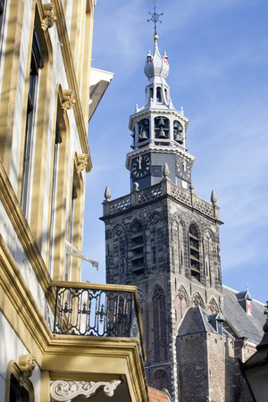 12 oclock: Clock tower of the Great or St. Johns Church St. Johns Church in Gouda