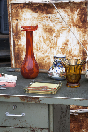 second hand: Second hand objects at a jumble sale in France Stock Photo