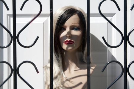 dummy: mannequin dummy behind a protection fence