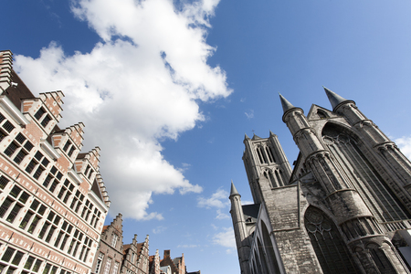gent: Saint Nicholas Church and historic building in the famous city Gent in Belgium