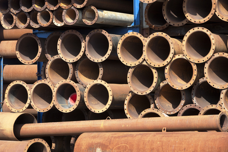 fluid: Rusty industrial tubes for transporting fluid Stock Photo