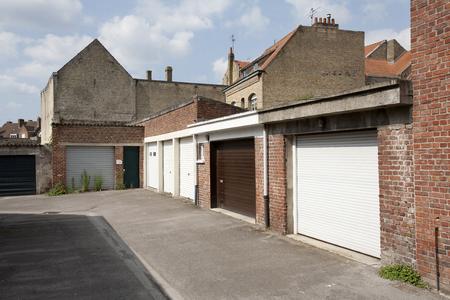 garage doors: Garage doors at the backside of the houses in Bergues, France