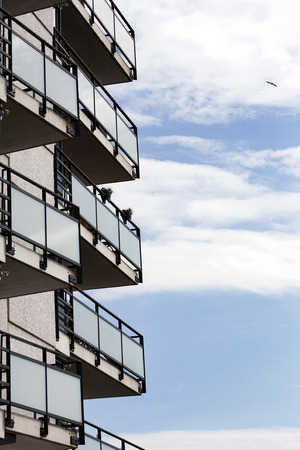 building feature: Balconies of an apartment block in the Netherlands Stock Photo