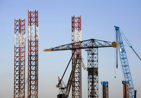 crane parts: Cranes and crane parts in the port of Rotterdam, the Netherlands