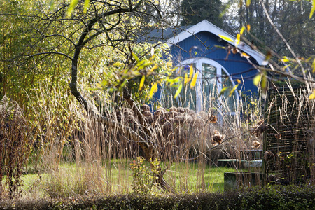 summerhouse: Beauty of a blue wooden summerhouse in autumn