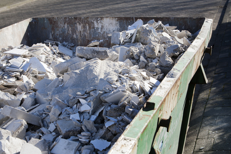 skip: Rented skip with rubble