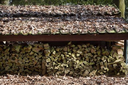 dode bladeren: Gehakte brand logs drogen onder een dak in de open lucht. Dak en gemalen zijn bekleed met dode bladeren.