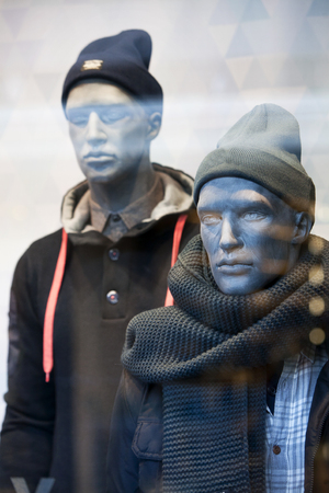 male mannequin: Male mannequin with warm shawl in a clothing store Stock Photo