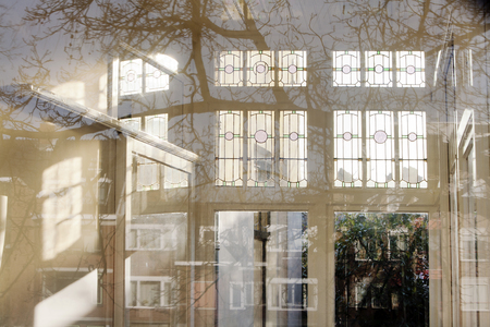 conservatory: Conservatory with beautiful reflections and shadows. Stock Photo