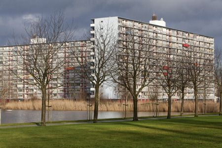 apartment block: Apartment block in a green environment. Built in the 70s in Rotterdam Alexanderpolder Stock Photo
