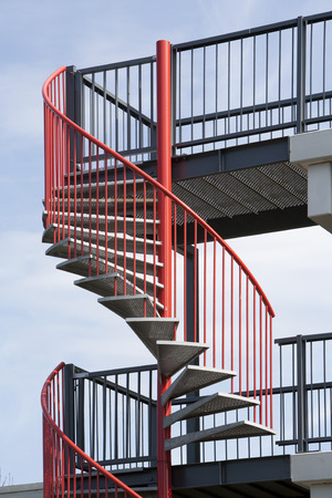 spiral staircase: Red metal spiral staircase in the Netherlands