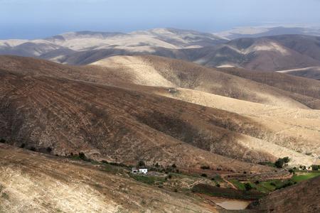 hill range: Volcanic mountain landscape on Fuerteventura Stock Photo