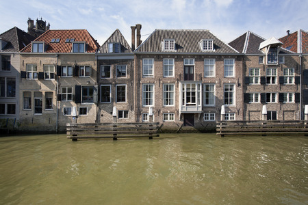 canal houses: Canal houses in Dordrecht in the Netherlands Stock Photo