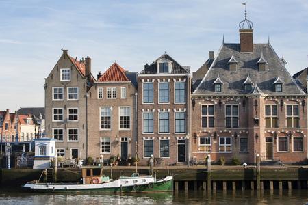 Historical quayside of Maassluisin the Netherlands Archivio Fotografico