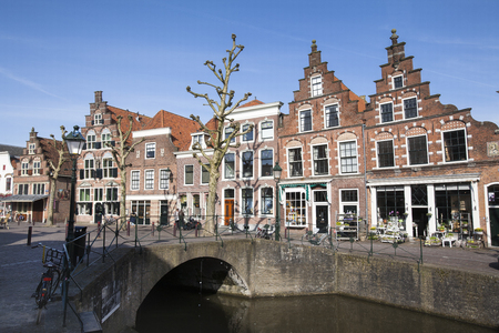 Canal and historic houses in Oudewater in the Netherlands