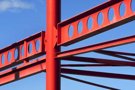 roof framing: Red metal construction frame in the Netherlands