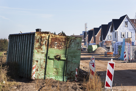 Trash container on a residential construction site in the Netherlands