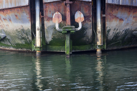 ship bow: Bow of an industrial ship with anchor in the Netherlands Stock Photo