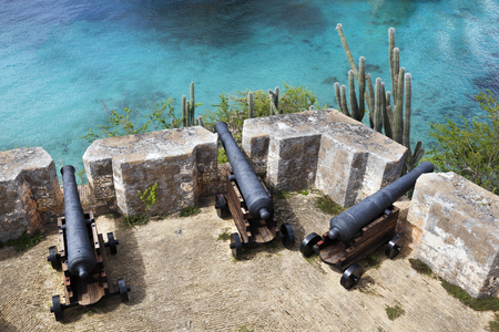 protectionism: Cannons of fort Beekenburg on Curacao