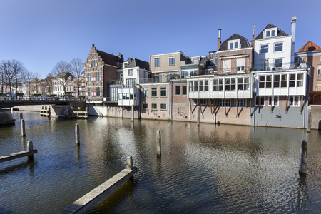 Traditional canal houses and a bridge in Gorinchem in the Netherlands