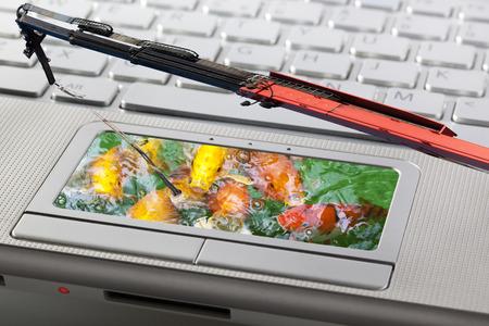 Phishingaanval van computersysteemconcept met vissen en een kraan als staaf Stockfoto