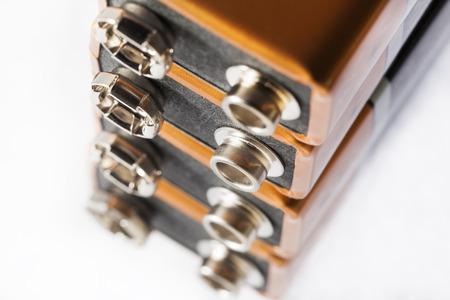 Stack of nine volt batteries  on white background Stockfoto