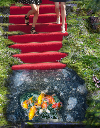 Red carpet staircase and ice hole phantasy manipulation