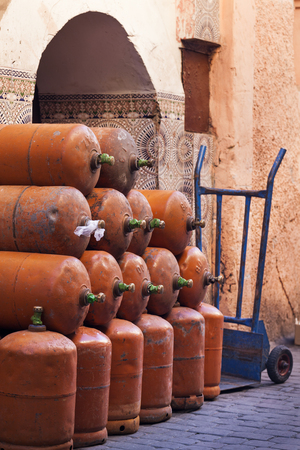 Pile of gas tanks in the medina of Marrakech