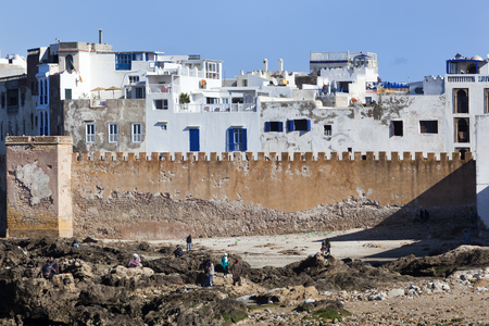 Old city wall and the medina of Essaouira in Morocco
