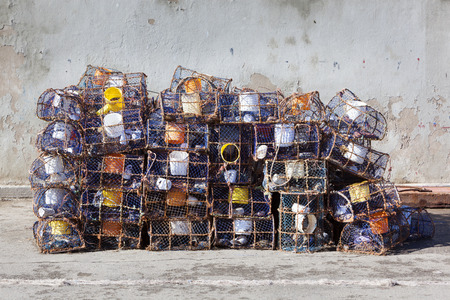 Fishing equipment in the port of Essaouira in Morocco Stock Photo