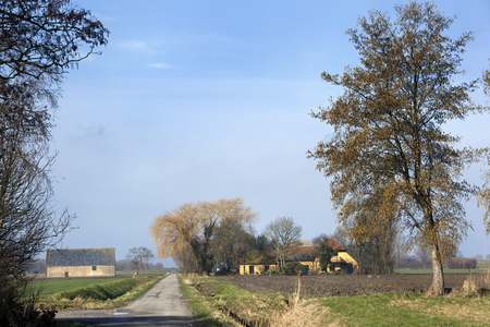 Dutch polder landscape with country road and farm in the Hoeksewaard in the Netherlands