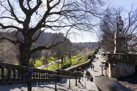 Entrance to the princes street garden on a sunny day in Edinburgh