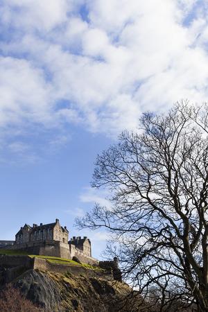 Edinburgh castle seen from princes street garden on a sunny day Stockfoto