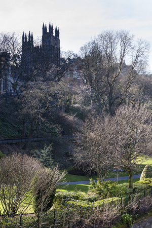 Princes street garden with new college in the background in Edinburgh