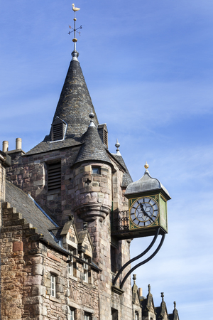 Building with clock on the royal mile in the center of the old town in Edinburgh